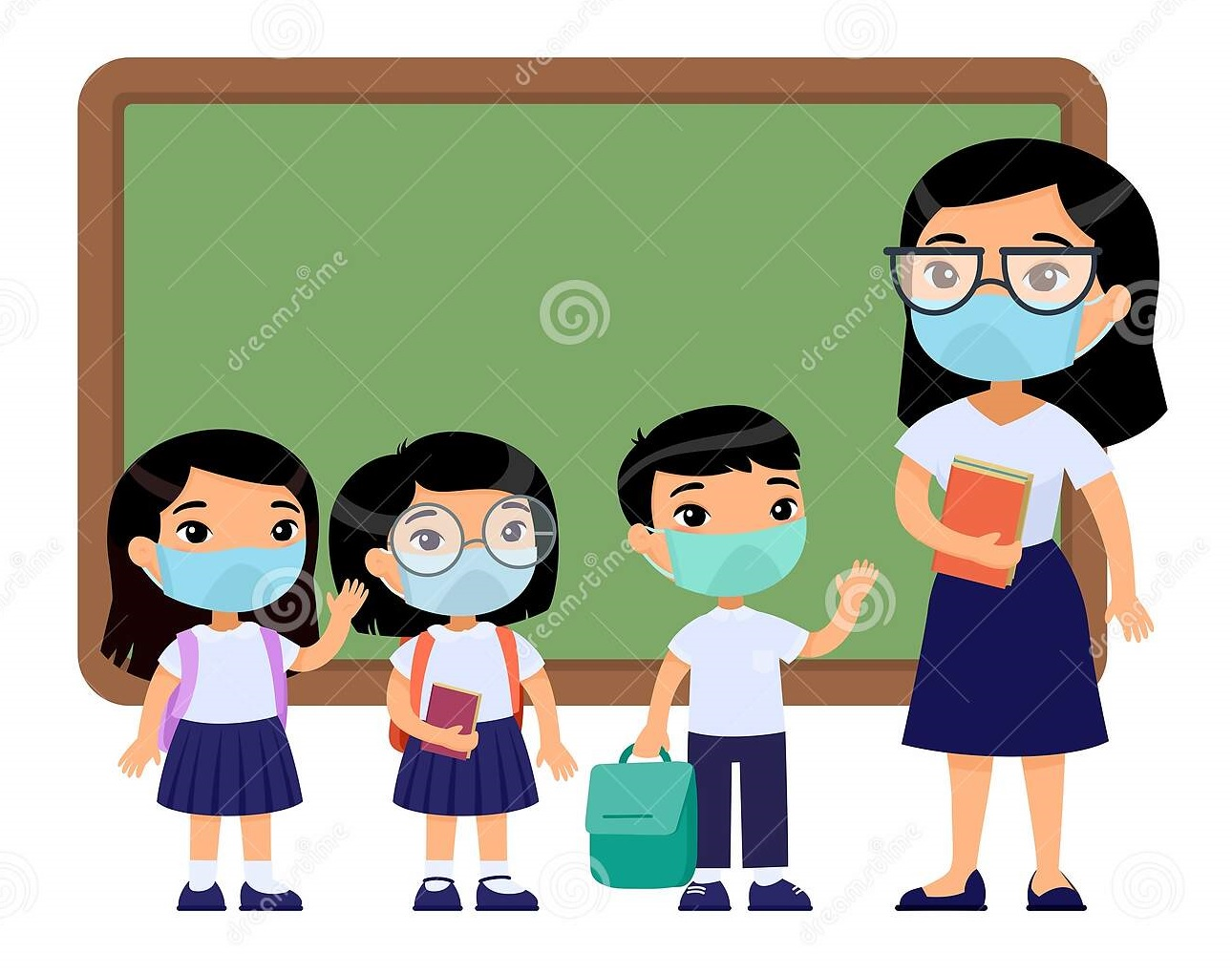 Asian Female Teacher And Pupils With Protective Masks On Their Faces. Stock  Illustration - Illustration of classroom, allergies: 174529640
